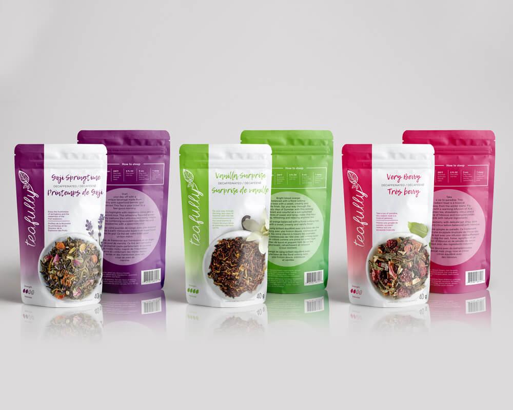 Bolsas personalizadas impresas para el envasado de té.