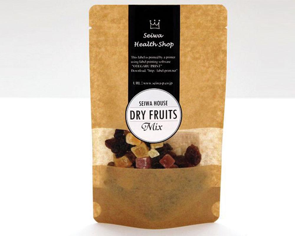 envaso de Frutas secas en Papel marrón con ventana rectángular