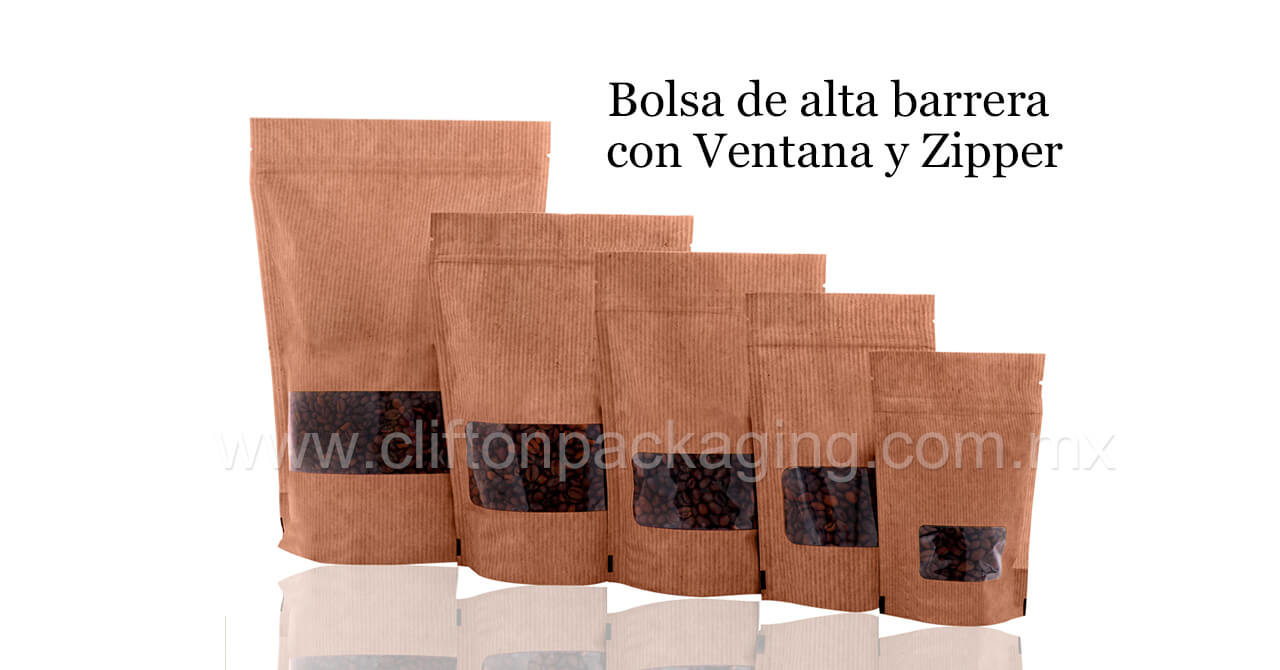 Bolsa Stand Up en Color Madera con zipper
