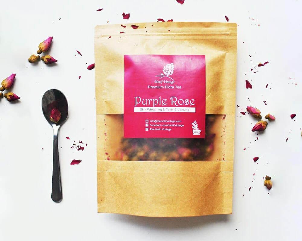 embalaje de té de rosa