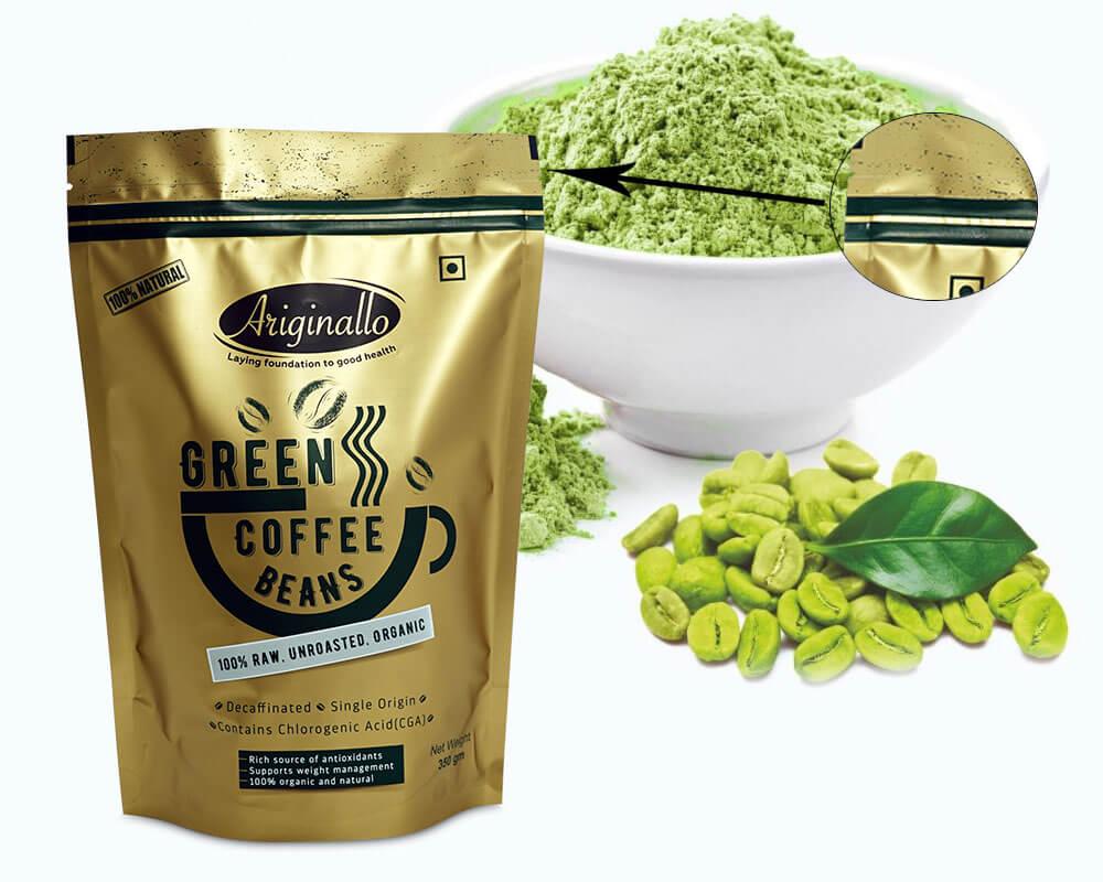 Empaquetado de los granos de café verde